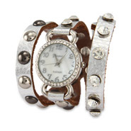 Silver Leather with CZ Studs Wrap Watch