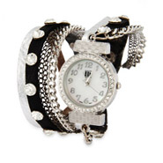 Silver and Black Wrap Around Chain Watch
