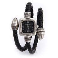 Designer Inspired Bullet Tip Black Braided Leather Wrap Watch