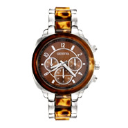 Designer Inspired Silver and Tortoise Shell Fashion Watch