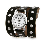 Black Leather Silver Studded Wrap Watch