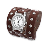 Silver Studded Brown Leather Wrap Watch