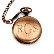 Treasured Times Collection by Eve Brushed Bronze Metal Engravable Pocket Watch