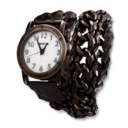Pewter Link Inlay and Leather Wrap Around Watch
