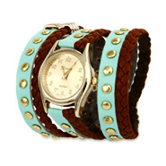 Mint and Brown Braided Leather Gold Stud Wrap Watch