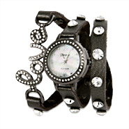 Dark Gray CZ Stud Love Wrap Watch