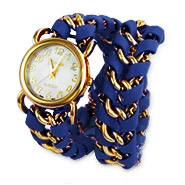 Navy Blue Chain Link Wrap Watch