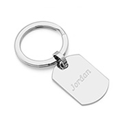 Stainless Steel Dog Tag Engravable Keychain