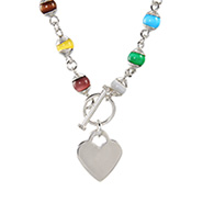 Colorful Cat's Eye and Sterling Silver Heart Tag Necklace