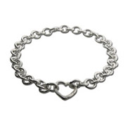 Tiffany Style Round Link with Heart Clasp Silver Necklace