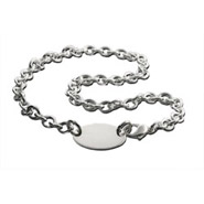 Tiffany Style Oval Return Tag Silver Necklace
