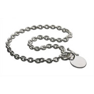 Tiffany Style Sterling Silver Round Tag Necklace