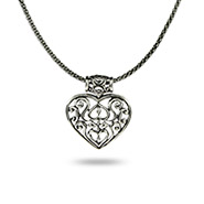 Sterling Silver Bali Heart Necklace