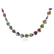Sterling Silver Millefiori Venetian Glass Heart Necklace