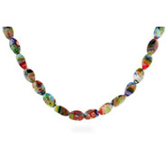 Sterling Silver Millefiori Venetian Glass Oval Bead Necklace
