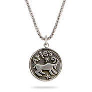Sterling Silver Aries Zodiac Pendant March 21 - April 21