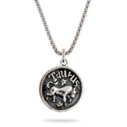 Sterling Silver Taurus Zodiac Pendant April 20 - May 20