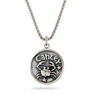 Sterling Silver Cancer Zodiac Pendant June 22 - July 22