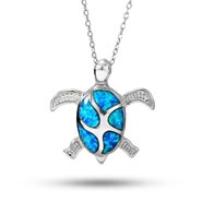 Sterling Silver Swimming Sea Turtle Necklace