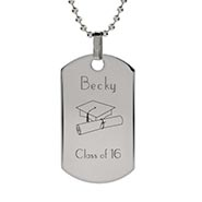 Stainless Steel Graduation Dog Tag Necklace