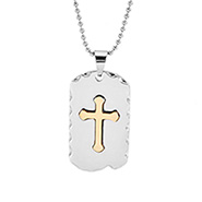 Mens Stainless Steel Gold Cross Dog Tag Necklace