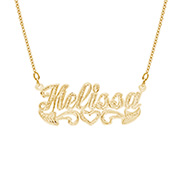 14K Gold Plated Script Carved Name Plate Necklace