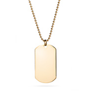 18K Gold Plated Large Stainless Steel Dog Tag
