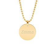 18K Gold Plated Small Round Tag Stainless Steel Pendant