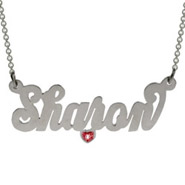 Simple Script Name Necklace with Birthstone CZ Heart