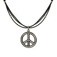 Sterling Silver Peace Sign Pendant with Millgrain Edges