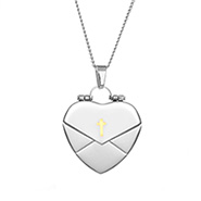 Engravable Secret Message Heart Envelope Locket with Gold Cross