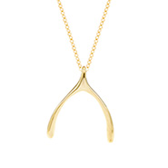 Tiffany Inspired Gold Vermeil Wishbone Pendant
