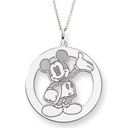 Sterling Silver Round Mickey Mouse Pendant Disney Jewelry