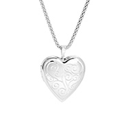 Vintage Scroll Design Engravable Sterling Silver Heart Photo Locket