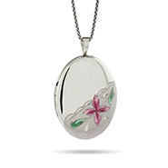 Pink Magnolia Engravable Oval Sterling Silver Photo Locket