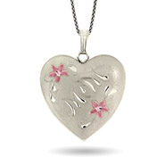 Mom Sterling Silver Engravable Heart 4 Photo Locket with Pink Flowers