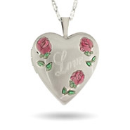 Hand Enameled Pink Rose Engravable Love Photo Locket