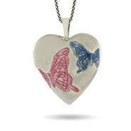 Hand Enameled Engravable Sterling Silver Butterfly Heart Photo Locket
