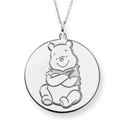 Large Sterling Silver Engravable Winnie the Pooh Pendant - Officially Licensed Disney Jewelry