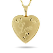 Engravable Love Gold Vermeil Heart Photo Locket