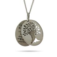 Engravable Serenity Prayer Tree of Life Tag Pendant