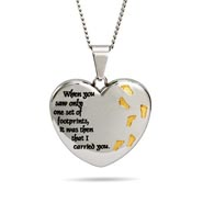Footprints In The Sand Engravable Heart Pendant