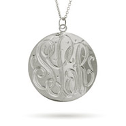 Sterling Silver Large Monogram Tag Pendant
