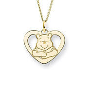 Gold Vermeil Winnie The Pooh Heart Pendant - Officially Licensed Disney Jewelry