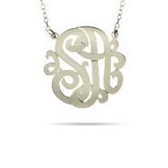Sterling Silver Small Two Initial Custom Monogram Necklace