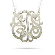 Sterling Silver Medium Diamond Cut Custom Monogram Necklace