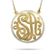 Gold Vermeil Two Initials Custom Monogram Pendant