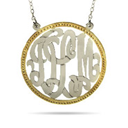 Sterling Silver Custom Monogram Pendant with Gold Border