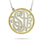 Sterling Silver Two Initials Custom Monogram Pendant with Gold Border