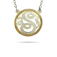 Sterling Silver Small Single Initial Monogram Pendant with Gold Border